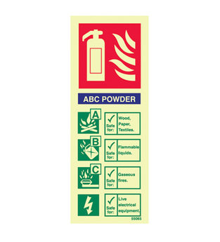 midland fire - ABC dry Powder fire extinguisher identity sign