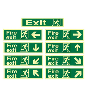 midland fire - fire exit signs with directional arrows