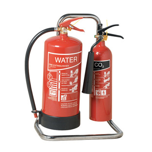 midland fire - double extinguisher stand chrome with extinguishers